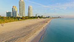 Aerial 4K Sobe South Beach sunrise in Miami Beach, Florida Stock Footage