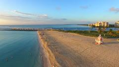 Aerial 4K Sobe South Beach sunrise in Miami Beach, Florida Stock Footage