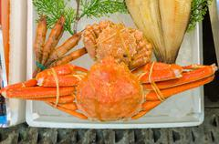 Japanese hairy crabs in the market (Taraba) Stock Photos