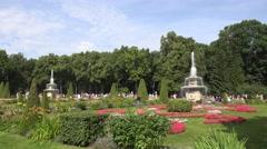 The Rimsky Fountains Peterhof Palace, Petergof, St Petersburg, Russia. Stock Footage