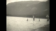 Vintage 16mm film, 1927, Canada, bathers and lake Stock Footage