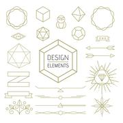 Stock Illustration of Design element set mono line art geometry symbol