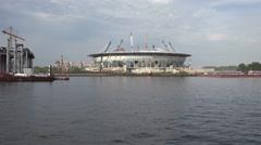 The New Zenit Stadium under construction, St Petersburg, Russia. Stock Footage