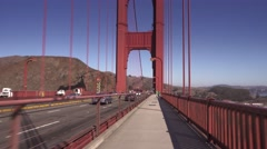 Perspective Riding Bike on Golden Gate Bridge Sidewalk  	 Stock Footage