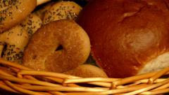 4k – Basket with buns and knot-shaped biscuits Stock Footage