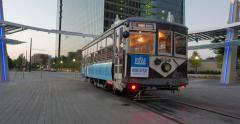 Trolley Turnaround in Uptown Dallas Stock Footage
