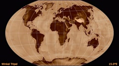 Animated world map in the Winkel Tripel projection. Luminance blending. Stock Footage