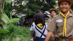 Thailand Boys and Girls Scout Camp in city park Stock Footage