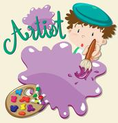 Artist with paints and paintbrush Stock Illustration