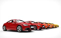 Stock Illustration of Row Of Cars - Warm Colors