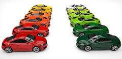 Rows of Red And Green Cars - stock illustration