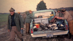 1973: Truck full of hunters headed home for the day. Stock Footage
