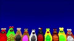 Lower Thirds Cartoon Blobs - Blue Screen - 4K Stock Footage