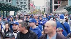 Jam packed toronto blue jay crowd crossing bridge Stock Footage