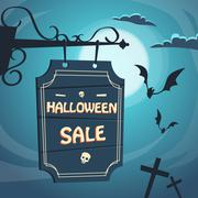 Halloween Sale Promotional Sign Board Cemetery - stock illustration