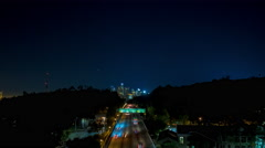 Downtown Los Angeles and 110 South Freeway Night Timelapse 2 Stock Footage