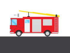 Red fire-engine picture - stock illustration