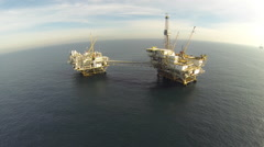 AERIAL: Offshore Oil Rigs California Stock Footage