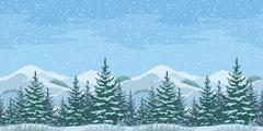 Stock Illustration of Seamless Christmas Winter Landscape