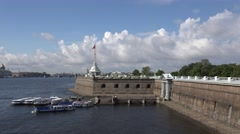 The external walls of the Peter & Paul fortress (in 4k), St Petersburg, Russia. Stock Footage