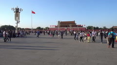 Crowd people in Tiananmen Square during Chinese National Day - stock footage