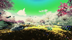 Colorful Flowers and Alien Sky Stock Footage