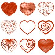 Set of heart shapes icons. Vector Stock Illustration