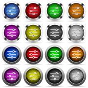 Horizontal adjustment button set - stock illustration