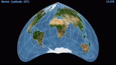 Animated world map in the Bonne (-25 degree) projection. Blue Marble raster. Stock Footage