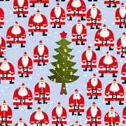 Stock Illustration of Christmas pattern. Santa Claus and Christmas tree seamless background. Feast