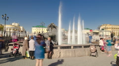 Fountain Four Seasons on Manezh Square in Moscow timelapse hyperlapse, Russia Stock Footage