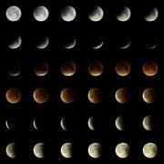 2015 Lunar Eclipse 6 x 6 Matrix - stock illustration