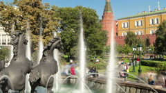 Back side of Fountain Four Seasons on Manezh Square in Moscow timelapse Stock Footage