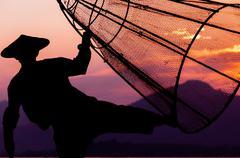 Inle Lake Fisherman - stock photo