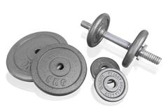 Fitness exercise equipment silver dumbbell and weights plate isolated on whit - stock photo