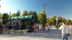 The Archangel Cathedral and Tsar pushka. Tsar Pushka - huge ancient cannon in Stock Footage