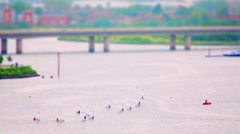 Sailing Boats in the Bay. Tilt Shift Timelapse. Stock Footage