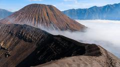 Top of sulfur Volcano crater Bromo in Java Indonesia Stock Photos