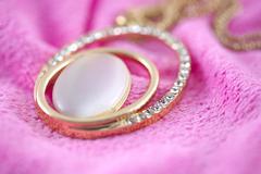 Necklace Diamond gold. Stock Photos