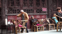 Old teahouse in Chengdu Stock Footage