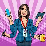 Businesswoman works hard - stock illustration