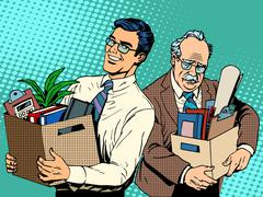 Retired business concept job search and dismissal - stock illustration