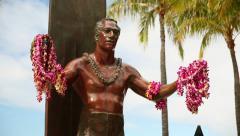 Duke Kahanamoku Statue, Waikiki Beach, Honolulu, Oahu, Hawaii Stock Footage