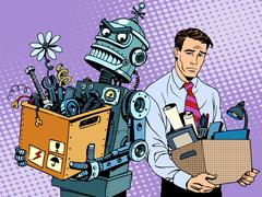 Stock Illustration of New technologies robot replaces human