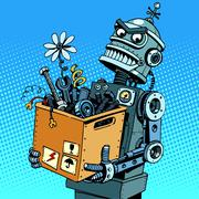 Evil robot comes to work - stock illustration
