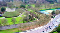 Castle and Busy Road. Tilt Shift Timelapse. Stock Footage