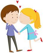 Girl kissing her boyfriend - stock illustration