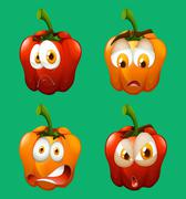 Facial expression on bell pepper - stock illustration