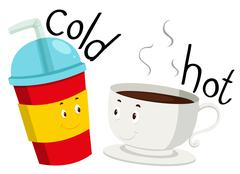 Opposite adjective cold and hot Stock Illustration
