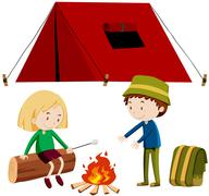 Two people camping out - stock illustration